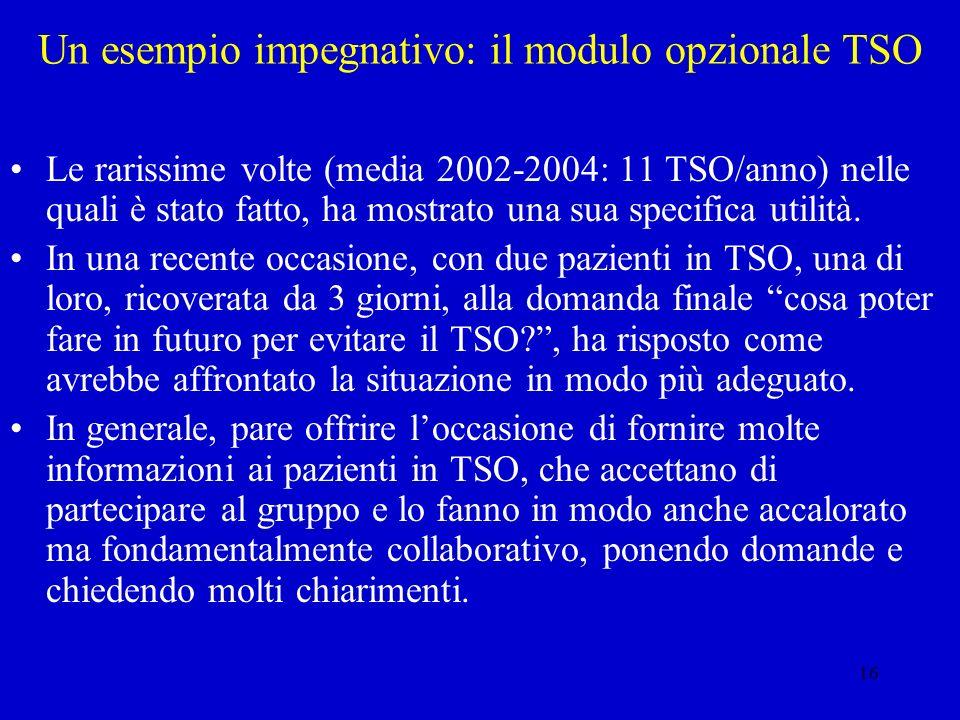 16 Un esempio impegnativo: il modulo opzionale TSO Le rarissime volte (media 2002-2004: 11 TSO/anno) nelle quali è stato fatto, ha mostrato una sua sp
