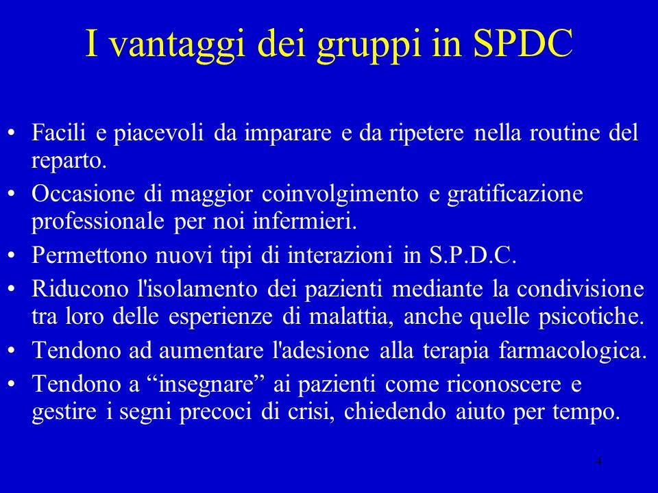 4 I vantaggi dei gruppi in SPDC Facili e piacevoli da imparare e da ripetere nella routine del reparto. Occasione di maggior coinvolgimento e gratific
