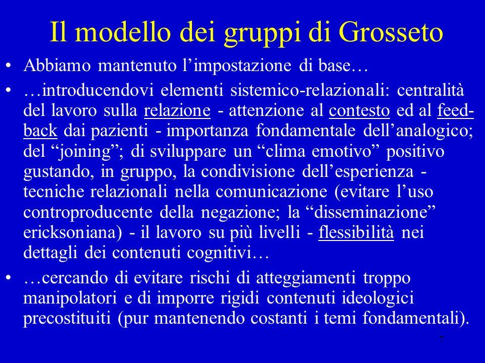 7 Il modello dei gruppi di Grosseto Abbiamo mantenuto limpostazione di base… …introducendovi elementi sistemico-relazionali: centralità del lavoro sul