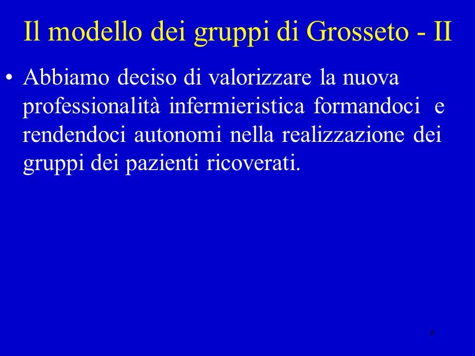 8 Il modello dei gruppi di Grosseto - II Abbiamo deciso di valorizzare la nuova professionalità infermieristica formandoci e rendendoci autonomi nella
