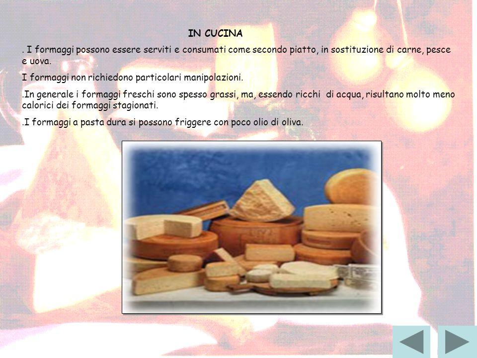 IN CUCINA. I formaggi possono essere serviti e consumati come secondo piatto, in sostituzione di carne, pesce e uova. I formaggi non richiedono partic