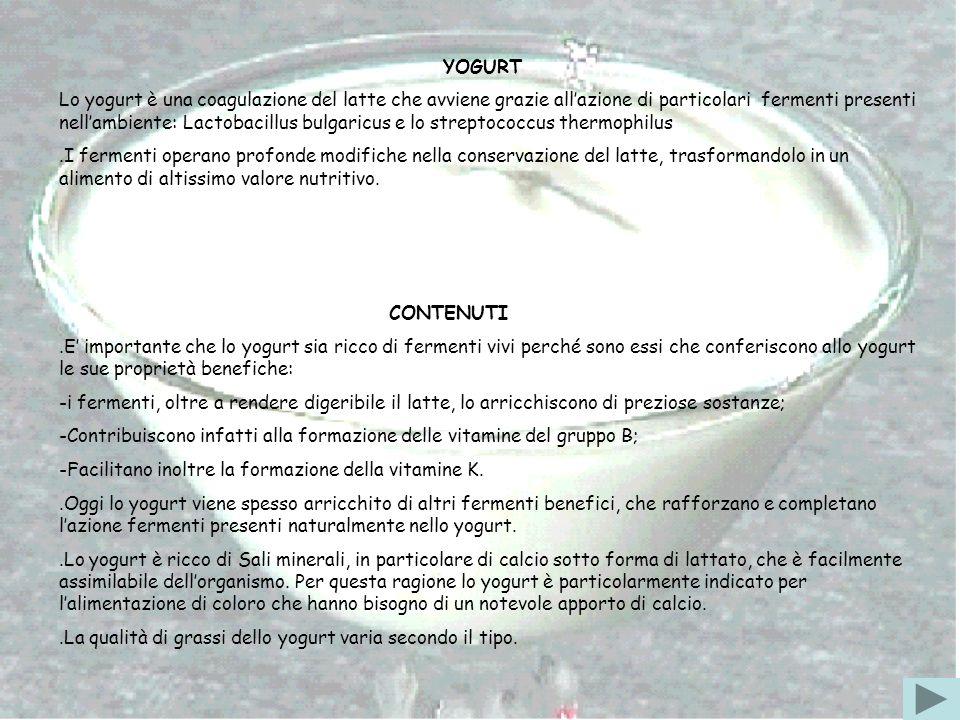 YOGURT Lo yogurt è una coagulazione del latte che avviene grazie allazione di particolari fermenti presenti nellambiente: Lactobacillus bulgaricus e l