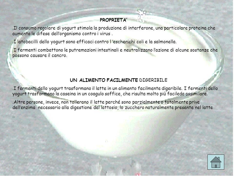 PROPRIETA.Il consumo regolare di yogurt stimola la produzione di interferone, una particolare proteina che aumenta le difese dellorganismo contro i vi
