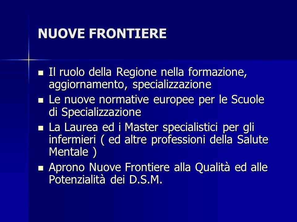 NUOVE FRONTIERE Il ruolo della Regione nella formazione, aggiornamento, specializzazione Il ruolo della Regione nella formazione, aggiornamento, speci
