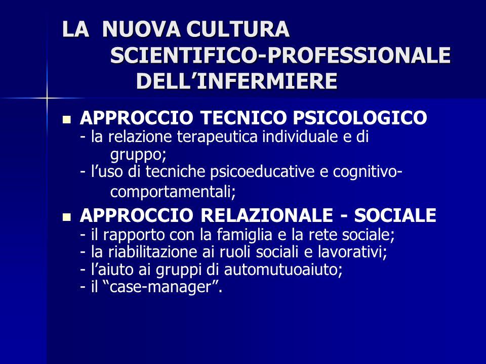 LA NUOVA CULTURA SCIENTIFICO-PROFESSIONALE DELLINFERMIERE APPROCCIO TECNICO PSICOLOGICO - la relazione terapeutica individuale e di gruppo; - luso di