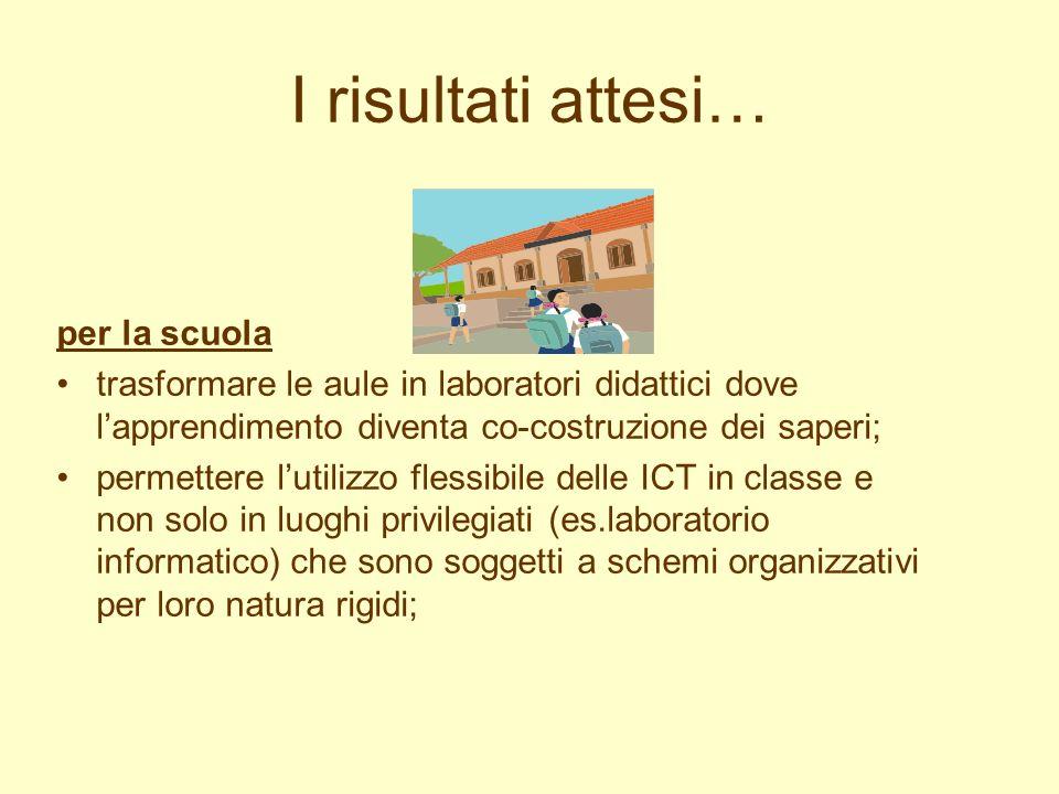 I risultati attesi… per la scuola trasformare le aule in laboratori didattici dove lapprendimento diventa co-costruzione dei saperi; permettere lutili