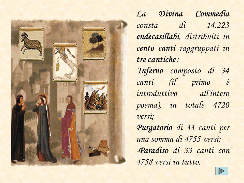 La Divina Commedia consta di 14.223 endecasillabi, distribuiti in cento canti raggruppati in tre cantiche : 'Inferno composto di 34 canti (il primo è