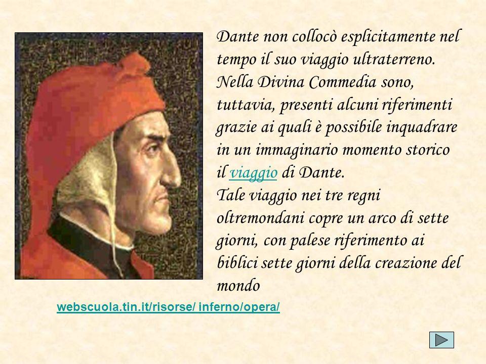 Dante non collocò esplicitamente nel tempo il suo viaggio ultraterreno. Nella Divina Commedia sono, tuttavia, presenti alcuni riferimenti grazie ai qu
