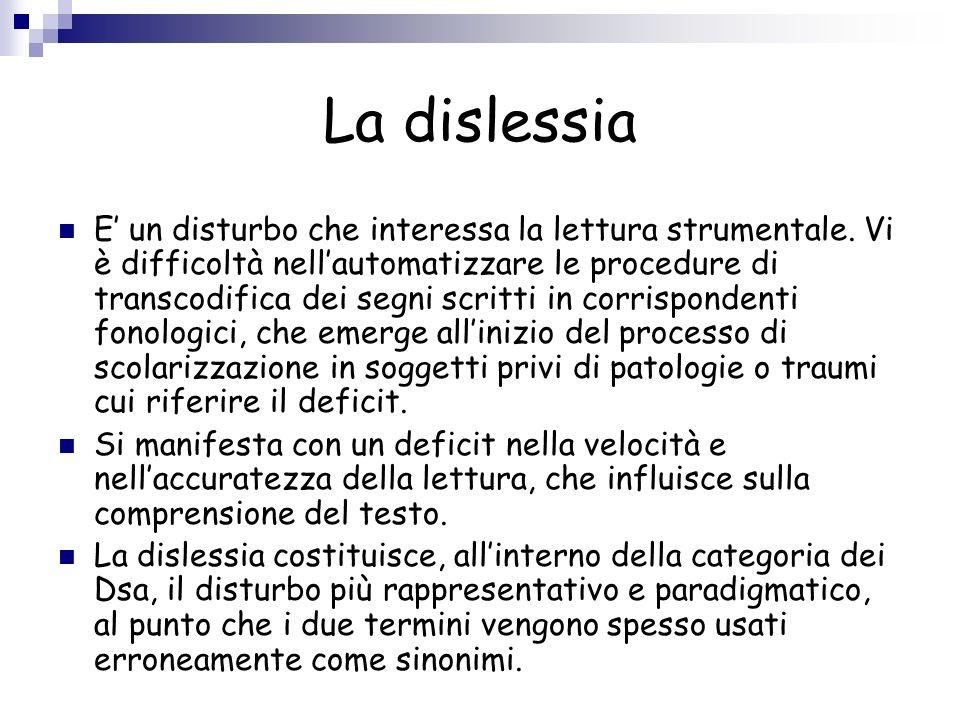 La dislessia E un disturbo che interessa la lettura strumentale. Vi è difficoltà nellautomatizzare le procedure di transcodifica dei segni scritti in