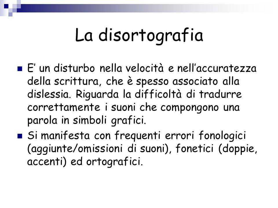 La disortografia E un disturbo nella velocità e nellaccuratezza della scrittura, che è spesso associato alla dislessia. Riguarda la difficoltà di trad