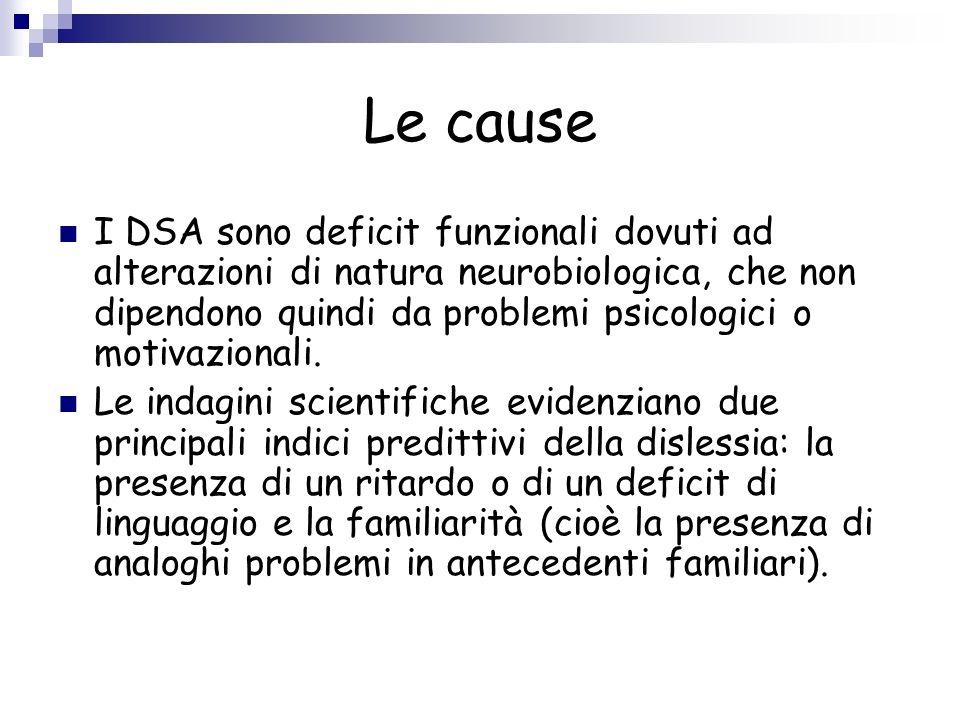 Le cause I DSA sono deficit funzionali dovuti ad alterazioni di natura neurobiologica, che non dipendono quindi da problemi psicologici o motivazional