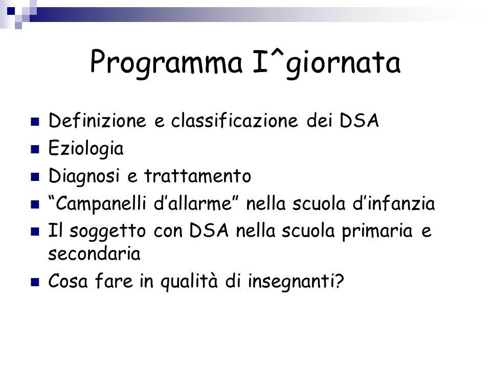 Programma I^giornata Definizione e classificazione dei DSA Eziologia Diagnosi e trattamento Campanelli dallarme nella scuola dinfanzia Il soggetto con