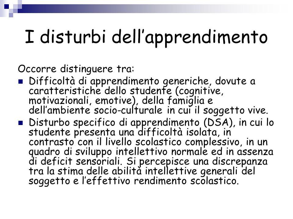 I disturbi dellapprendimento Occorre distinguere tra: Difficoltà di apprendimento generiche, dovute a caratteristiche dello studente (cognitive, motiv
