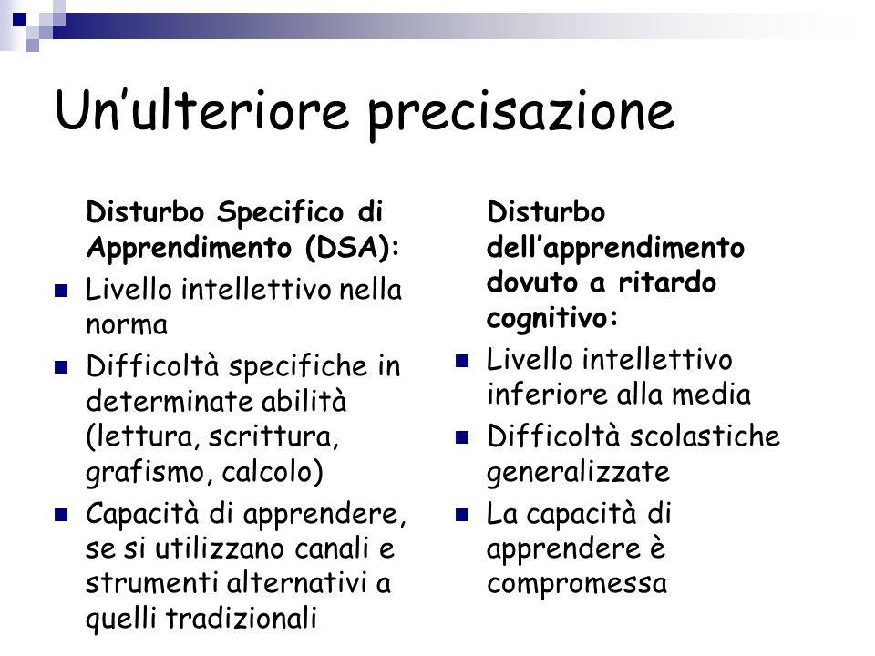 Unulteriore precisazione Disturbo Specifico di Apprendimento (DSA): Livello intellettivo nella norma Difficoltà specifiche in determinate abilità (let