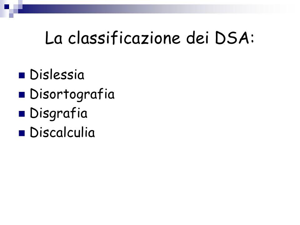 La classificazione dei DSA: Dislessia Disortografia Disgrafia Discalculia