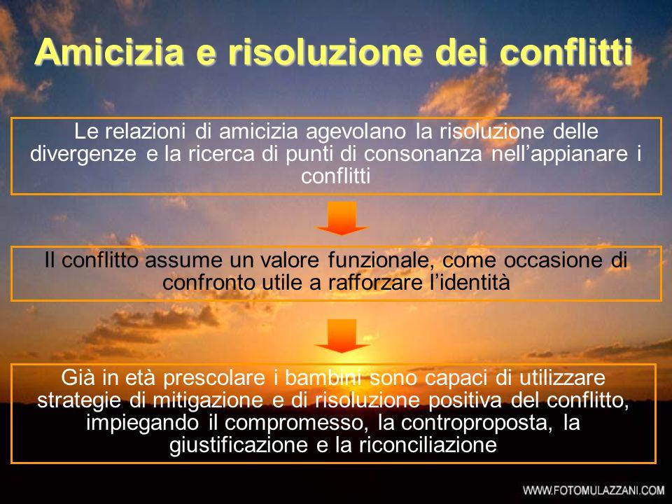 Amicizia e risoluzione dei conflitti Le relazioni di amicizia agevolano la risoluzione delle divergenze e la ricerca di punti di consonanza nellappian