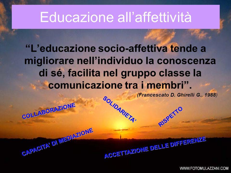 Educazione allaffettività Leducazione socio-affettiva tende a migliorare nellindividuo la conoscenza di sé, facilita nel gruppo classe la comunicazion