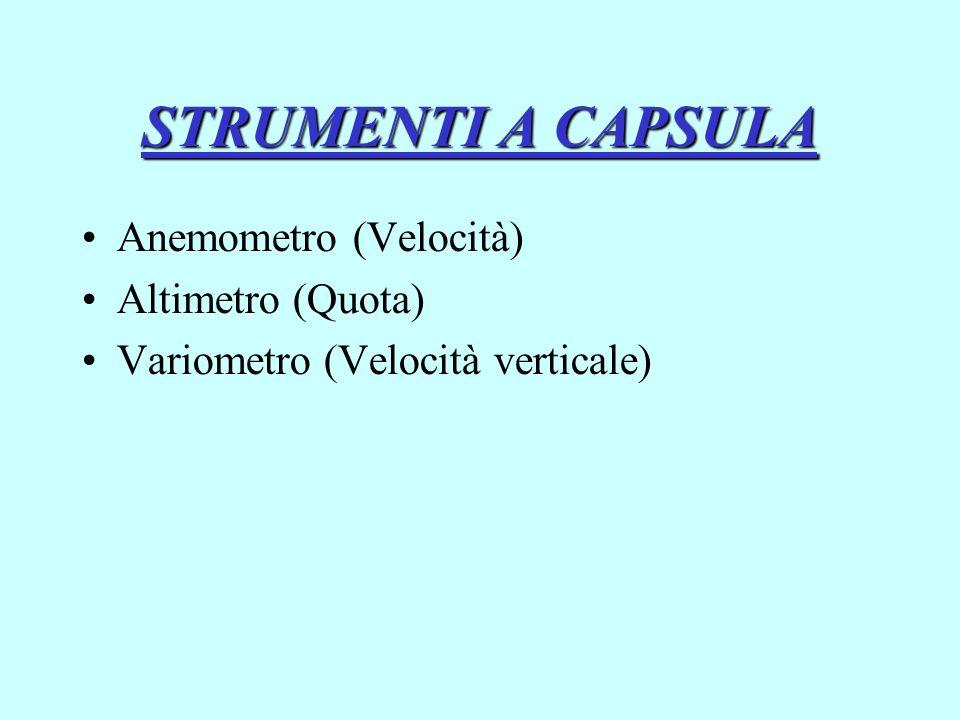 STRUMENTI A CAPSULA Anemometro (Velocità) Altimetro (Quota) Variometro (Velocità verticale)