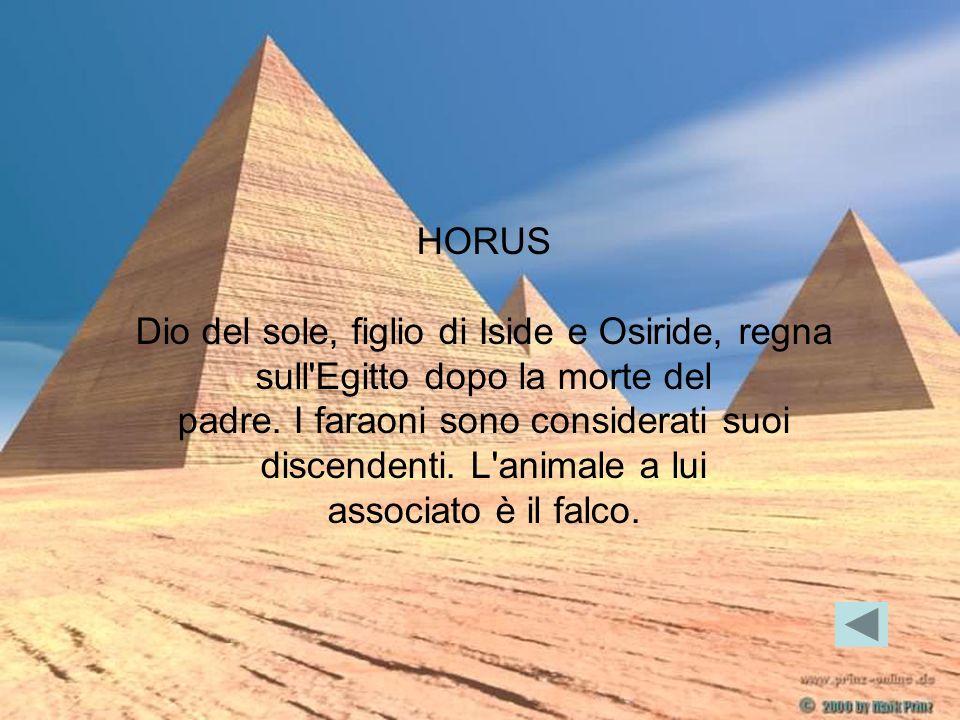 HORUS Dio del sole, figlio di Iside e Osiride, regna sull'Egitto dopo la morte del padre. I faraoni sono considerati suoi discendenti. L'animale a lui