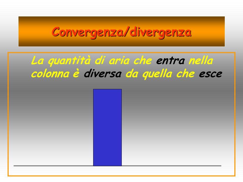 Convergenza/divergenza La quantità di aria che entra nella colonna è diversa da quella che esce
