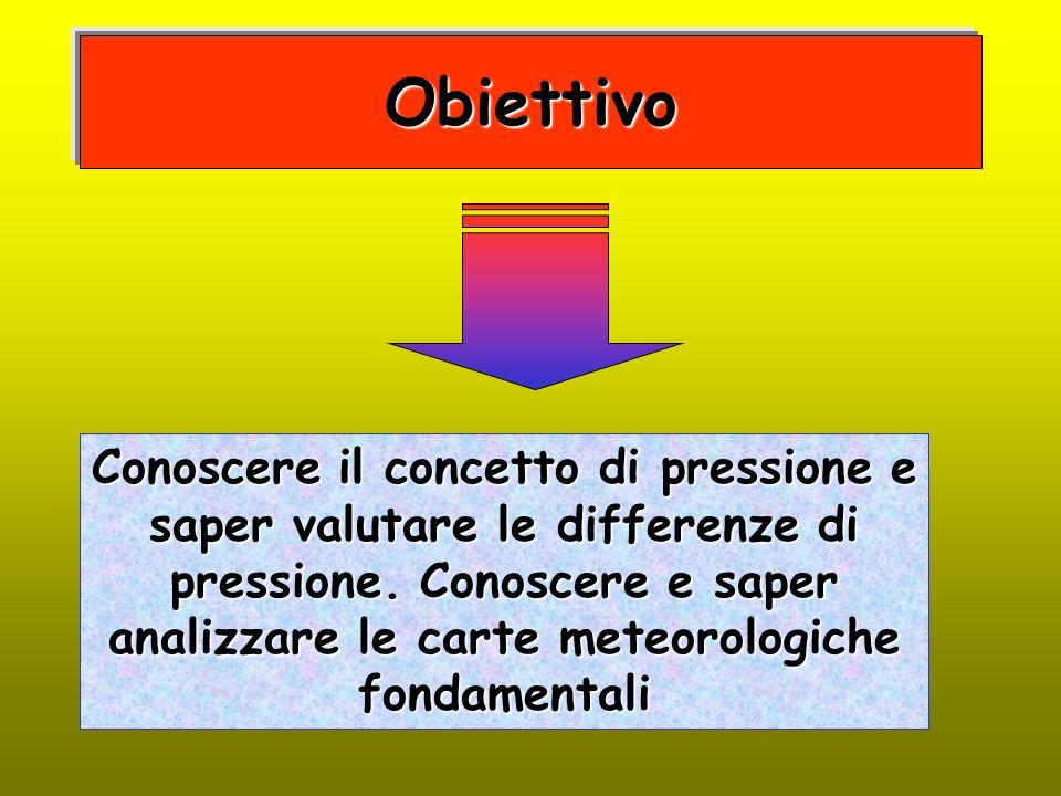 Obiettivo Conoscere il concetto di pressione e saper valutare le differenze di pressione. Conoscere e saper analizzare le carte meteorologiche fondame