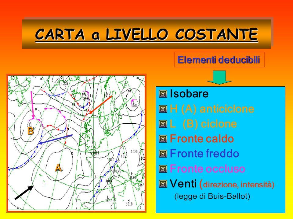 Isobare H (A) anticiclone L (B) ciclone Fronte caldo Fronte freddo Fronte occluso Venti ( direzione, intensità) (legge di Buis-Ballot) CARTA a LIVELLO