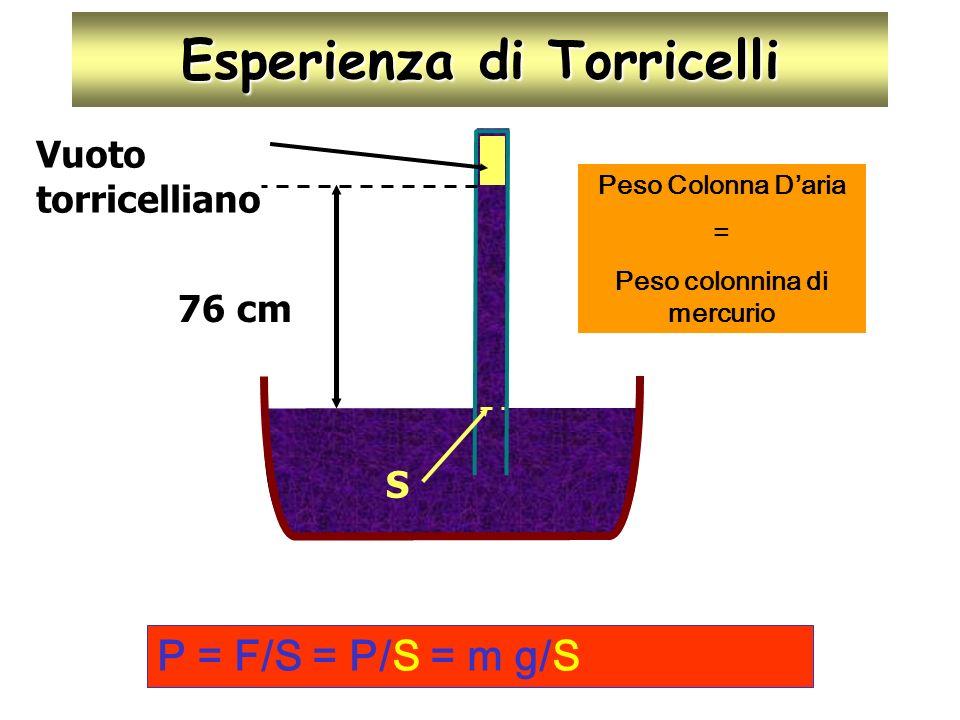Esperienza di Torricelli 76 cm S Vuoto torricelliano P = F/S = P/S = m g/S Peso Colonna Daria = Peso colonnina di mercurio