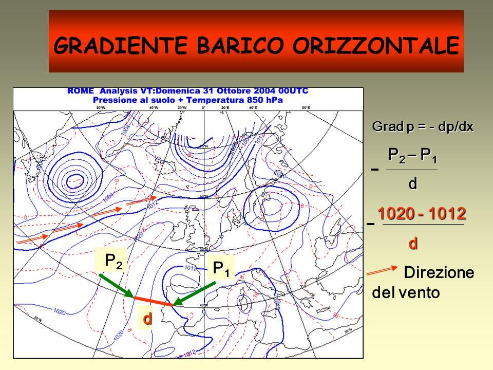 GRADIENTE BARICO ORIZZONTALE Grad p = - dp/dx P 2 – P 1 P 2 – P 1 d 1020 - 1012 1020 - 1012 d Direzione del vento P2 P2 P1P1P1P1 d