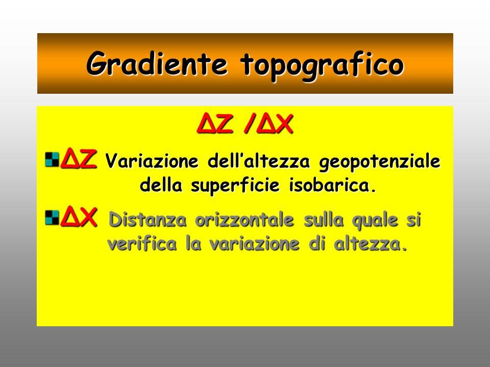 Gradiente topografico Z /X Z Variazione dellaltezza geopotenziale della superficie isobarica. X Distanza orizzontale sulla quale si verifica la variaz