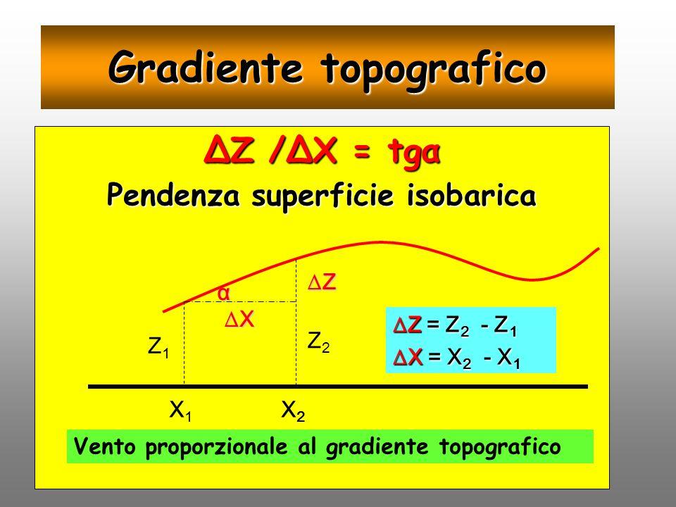 Gradiente topografico Z /X = tgα Pendenza superficie isobarica Z1Z1 Z2Z2 X Z X1X1 X2X2 Z = Z 2 - Z 1 X = X 2 - X 1 α Vento proporzionale al gradiente