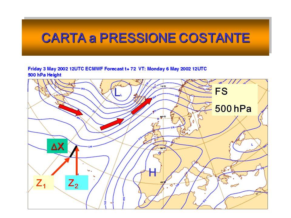 CARTA a PRESSIONE COSTANTE Z1Z1 FS 500 hPa H L Z2Z2 X
