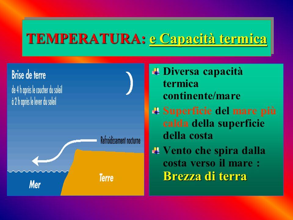 TEMPERATURA: e Capacità termica Diversa capacità termica continente/mare Superficie del mare più calda della superficie della costa Brezza di terra Ve