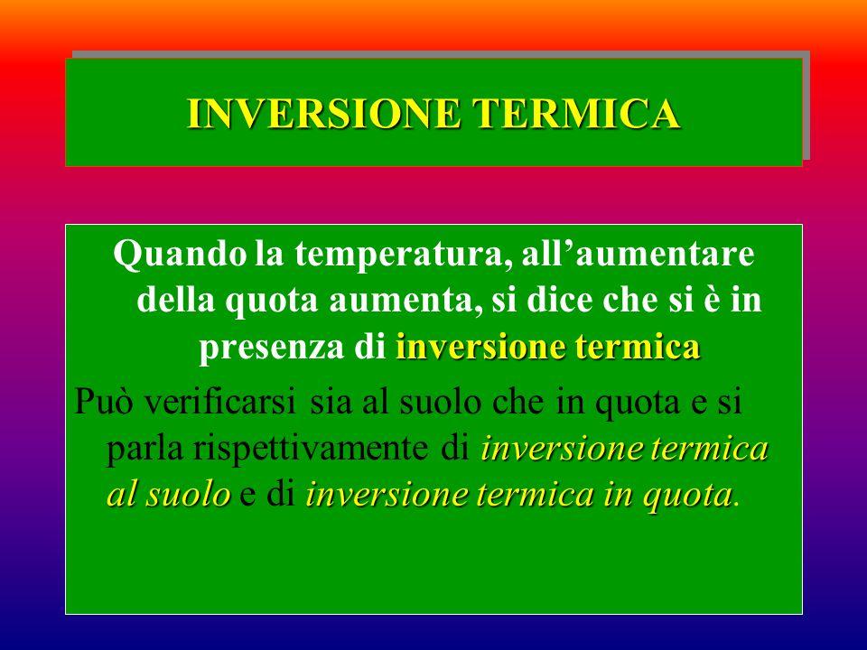 INVERSIONE TERMICA inversione termica Quando la temperatura, allaumentare della quota aumenta, si dice che si è in presenza di inversione termica inve