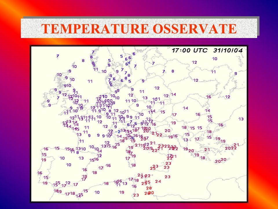 TEMPERATURA diurna Insolazione solare ha il massimo a mezzogiorno (sole allo zenit) Emissione IR terrestre ha il massimo alcune ore dopo a causa del tempo necessario alla superficie terrestre per assorbire radiazione solare VIS e riemettere radiazione IR Laria si scalda assorbendo radiazione infrarossa emessa dalla superficie terrestre La temperatura massima giornaliera viene registrata nel primo pomeriggio ( 2 ore dopo il passaggio del sole allo zenit)