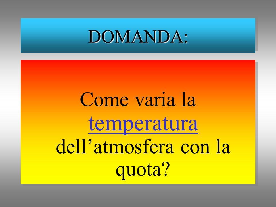 Come varia la temperatura dellatmosfera con la quota? DOMANDA:DOMANDA: