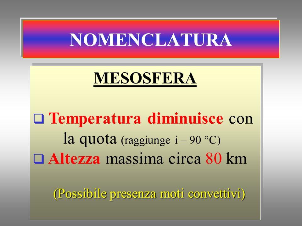 NOMENCLATURA MESOSFERA Temperatura diminuisce con la quota (raggiunge i – 90 °C) Altezza massima circa 80 km (Possibile presenza moti convettivi) MESO