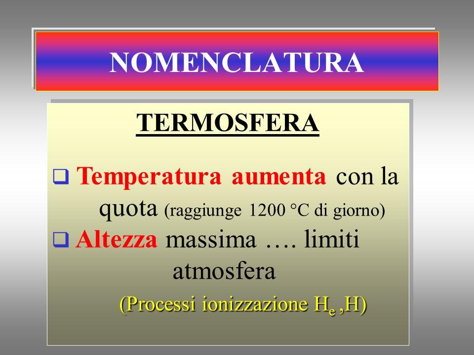 NOMENCLATURA TERMOSFERA Temperatura aumenta con la quota (raggiunge 1200 °C di giorno) Altezza massima …. limiti atmosfera (Processi ionizzazione H e,