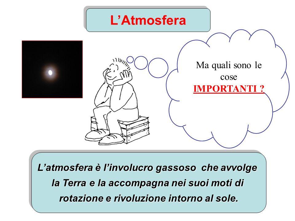 LAtmosfera Latmosfera è linvolucro gassoso che avvolge la Terra e la accompagna nei suoi moti di rotazione e rivoluzione intorno al sole. Latmosfera è