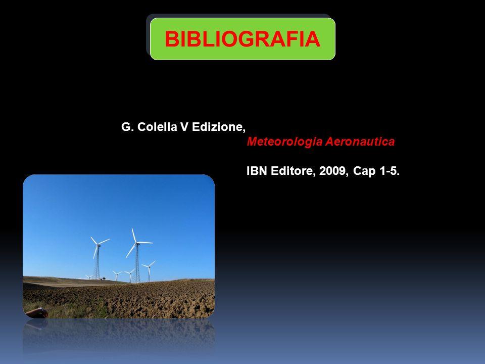 G. Colella V Edizione, Meteorologia Aeronautica IBN Editore, 2009, Cap 1-5. BIBLIOGRAFIA