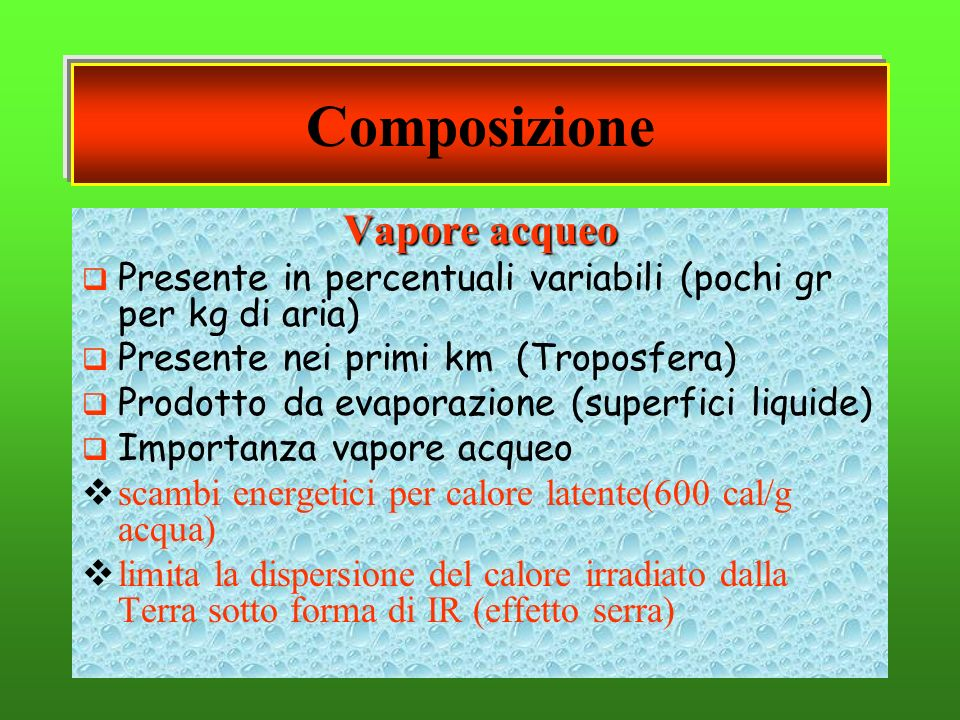 Vapore acqueo Presente in percentuali variabili (pochi gr per kg di aria) Presente nei primi km (Troposfera) Prodotto da evaporazione (superfici liqui