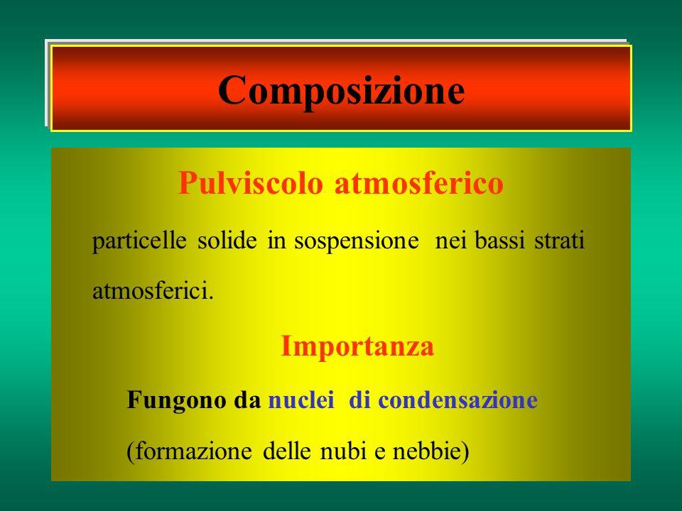 Pulviscolo atmosferico particelle solide in sospensione nei bassi strati atmosferici. Importanza Fungono da nuclei di condensazione (formazione delle