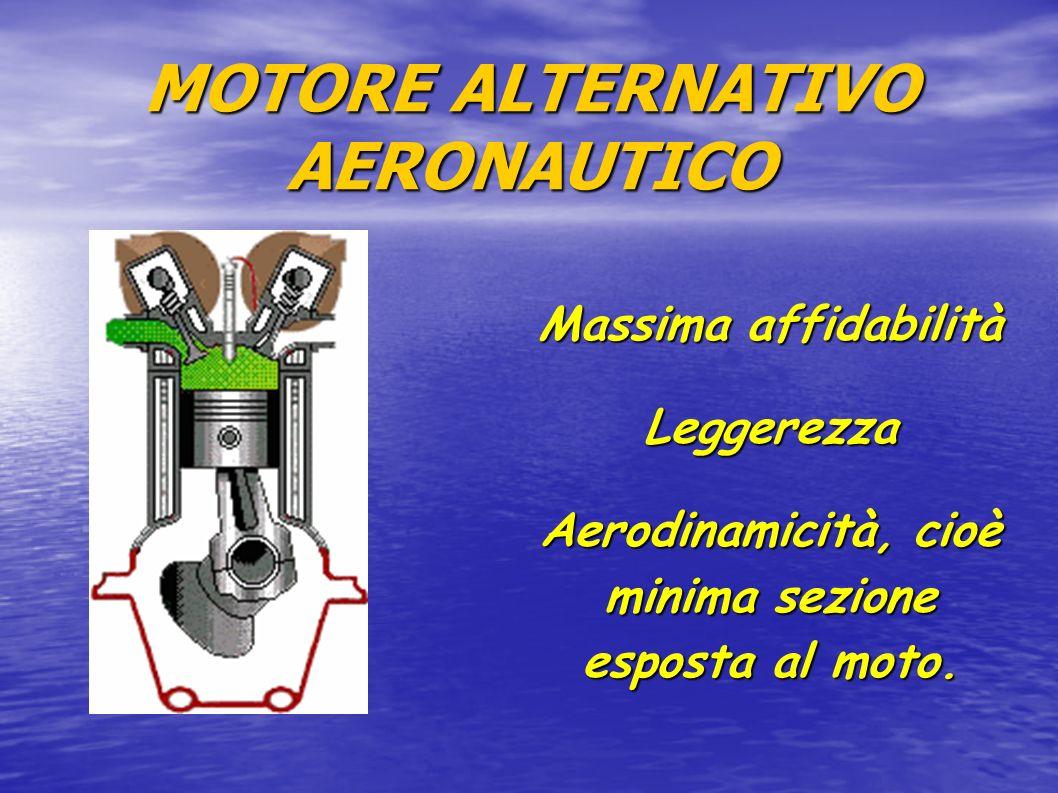 MOTORE ALTERNATIVO AERONAUTICO Massima affidabilità Leggerezza Aerodinamicità, cioè minima sezione esposta al moto.