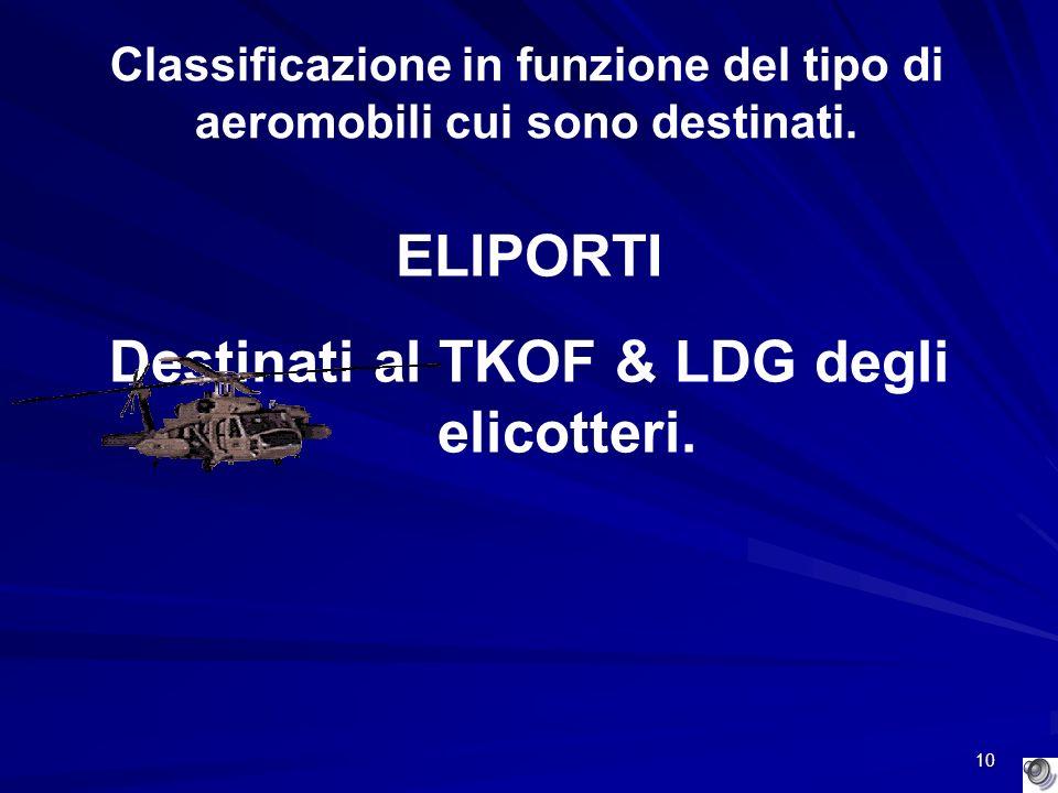 10 Classificazione in funzione del tipo di aeromobili cui sono destinati. ELIPORTI Destinati al TKOF & LDG degli elicotteri.
