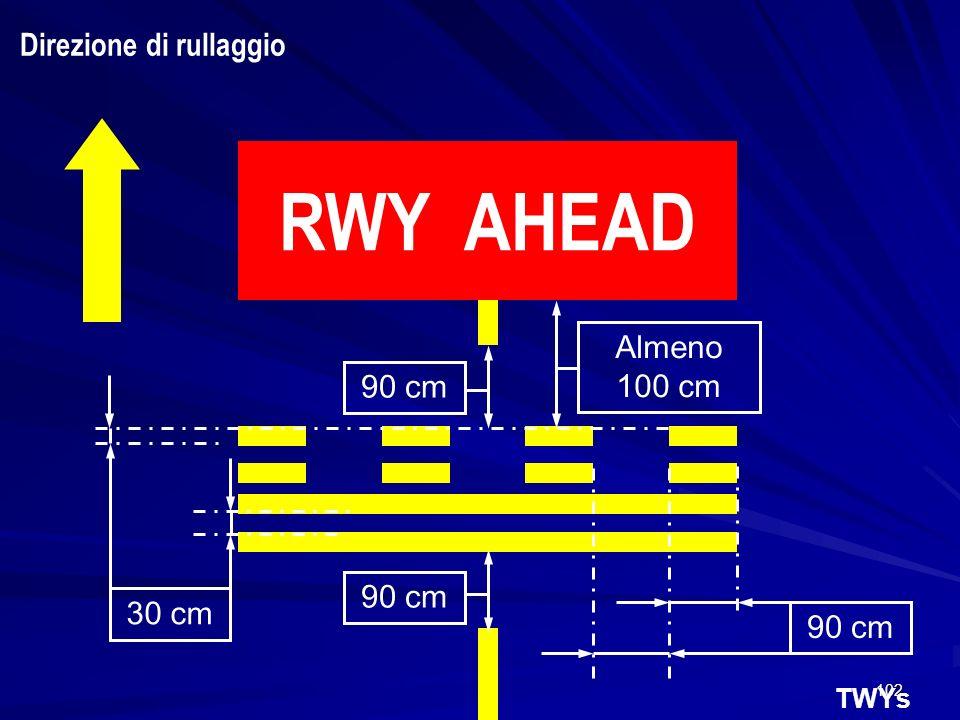 102 TWYs RWY AHEAD 90 cm Almeno 100 cm 90 cm 30 cm Direzione di rullaggio
