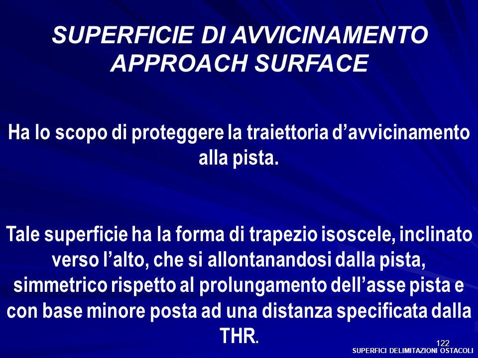122 SUPERFICI DELIMITAZIONI OSTACOLI SUPERFICIE DI AVVICINAMENTO APPROACH SURFACE Ha lo scopo di proteggere la traiettoria davvicinamento alla pista.