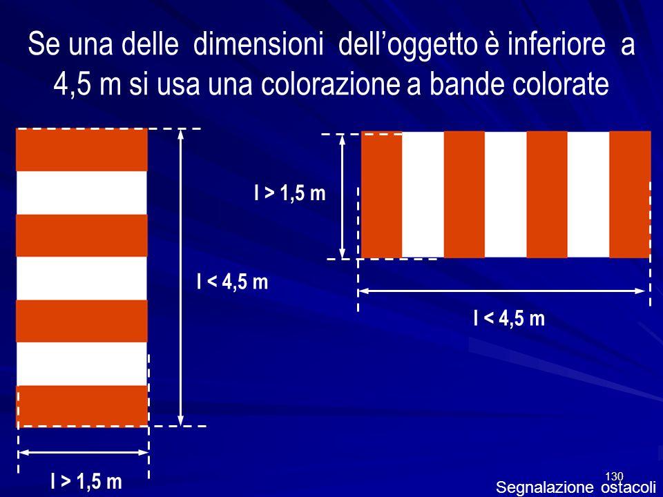 130 Segnalazione ostacoli Se una delle dimensioni delloggetto è inferiore a 4,5 m si usa una colorazione a bande colorate l < 4,5 m l > 1,5 m l < 4,5