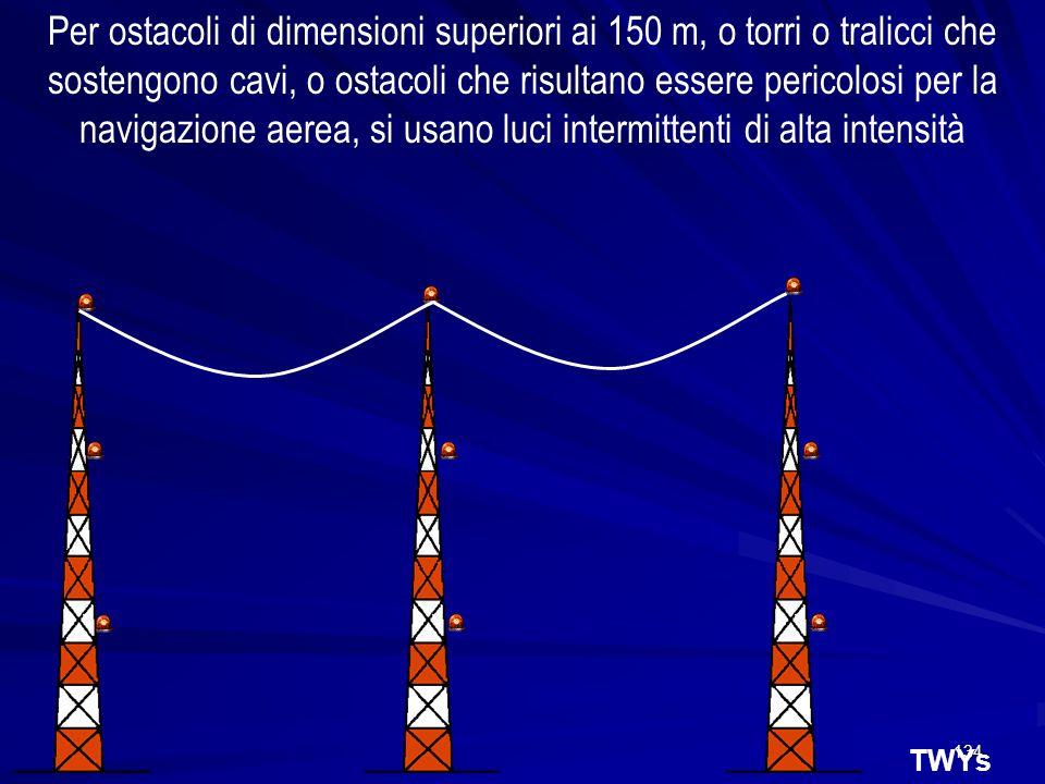 134 TWYs Per ostacoli di dimensioni superiori ai 150 m, o torri o tralicci che sostengono cavi, o ostacoli che risultano essere pericolosi per la navi