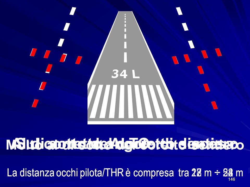 146 ALTO La distanza occhi pilota/THR è compresa tra 28 m ÷ 54 mLa distanza occhi pilota/THR è compresa tra 22 m ÷ 28 mLa distanza occhi pilota/THR è