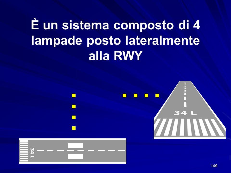 149 È un sistema composto di 4 lampade posto lateralmente alla RWY 34 L