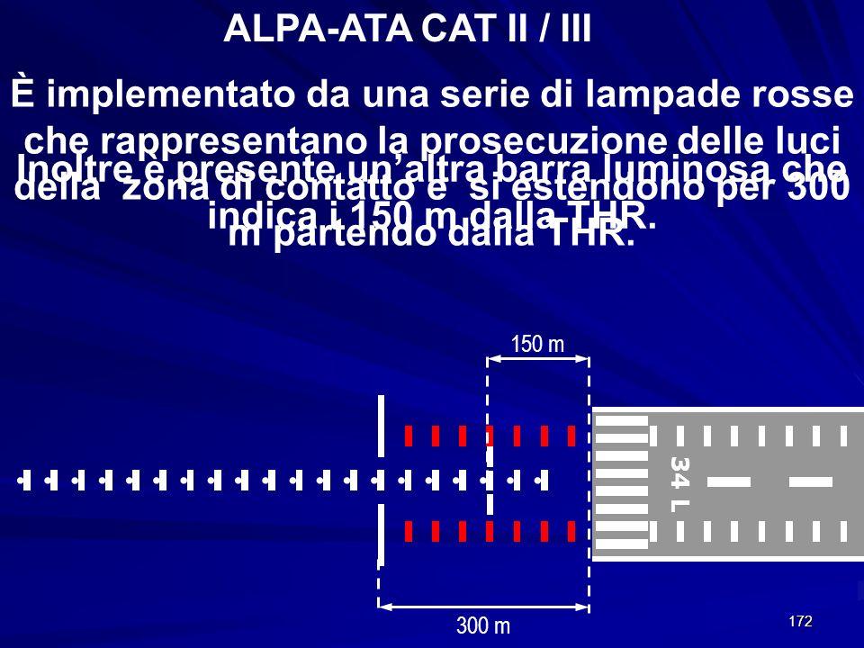 172 ALPA-ATA CAT II / III 34 L 300 m È implementato da una serie di lampade rosse che rappresentano la prosecuzione delle luci della zona di contatto